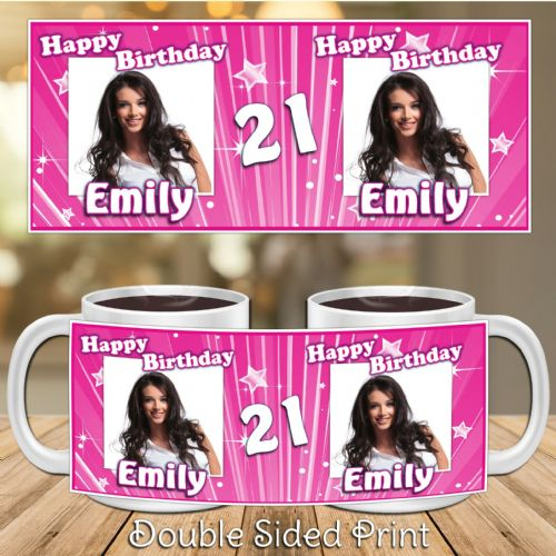 Personalised Pink Glitz Happy Birthday PHOTO Mug N17